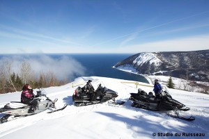 Snowmobiling on top of Mont-St-Pierre