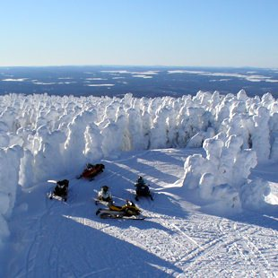 Snowmobilers and snowy trees in La Rédemption, in Gaspésie