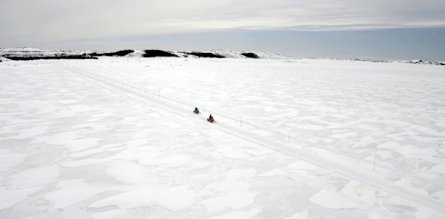 Snowmobilers on the White Trail