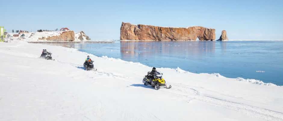 What to See by Snowmobile in Eastern Québec: Percé Rock