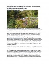 Suite des découvertes québécoises : les couleurs autour du Bas-Saint-Laurent