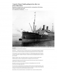 Canada's Titanic finally getting its due after 100 years